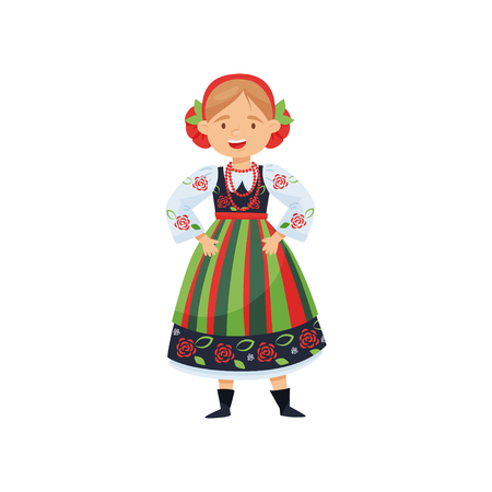 Adorable cheerful girl in traditional Polish folk dress. National costume. Cartoon female character with happy face. Fashion theme. Colorful flat vector illustration isolated on white background.