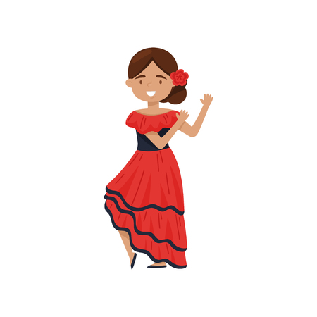 Cheerful brunette girl in traditional Spanish dress. Flamenco dancer costume. National women outfit of Spain. Cartoon female character. Colorful flat vector illustration isolated on white background.  イラスト・ベクター素材