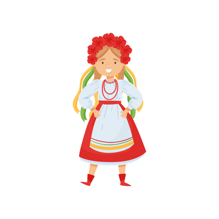 Illustration of cute smiling girl in Ukrainian traditional clothes. Cartoon character in beautiful dress and flower wreath with ribbons. National costume. Flat vector isolated on white background.