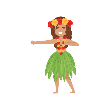 Cheerful dancing girl in Hawaii traditional dress. Cartoon female character in Hawaiian hula skirt, coconut bra and flower lei. Colorful vector illustration in flat style isolated on white background.