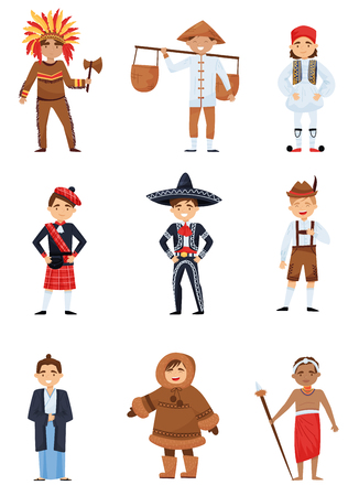 Set of boys in national costumes of different countries. Smiling kids wearing various traditional clothes. Cartoon characters. Colorful vector illustration in flat style isolated on white background.
