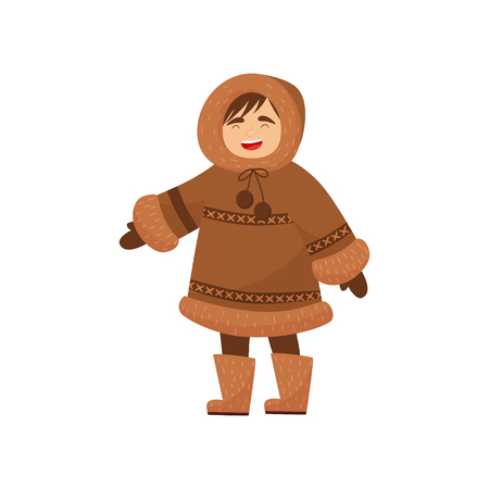 Laughing Eskimo boy in traditional clothes. Kid wearing warm brown winter coat, mittens and boots. Siberia, Alaska, northern region. Cartoon character. Flat vector design isolated on white background.