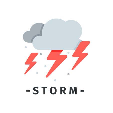 Gray clouds and red lightnings. Storm and thunderstorm weather. Natural disaster. Graphic element for mobile app or website. Colorful vector icon in simple flat style isolated on white background.