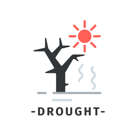 Drought disaster icon with hot red sun and dry tree. Ecological catastrophe. Dangerous situation. Nature theme. Colorful vector illustration in simple flat style isolated on white background.