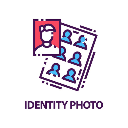 Original flat vector   with identity photos for documents. Creative emblem in line style
