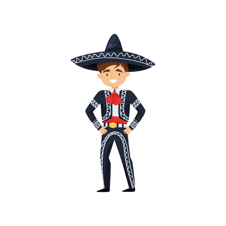 Cartoon character of cheerful boy in Mexican national clothing. Kid wearing blue sombrero and costume with embroidery. Traditional charro suit. Flat vector illustration isolated on white background. Ilustrace
