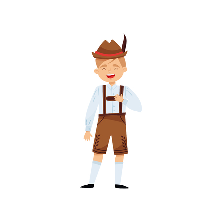 Funny laughing boy in national Bavarian clothing. Kid in shirt, traditional lederhosen shorts with suspenders and hat with feather. Cartoon male character. Isolated vector illustration in flat style