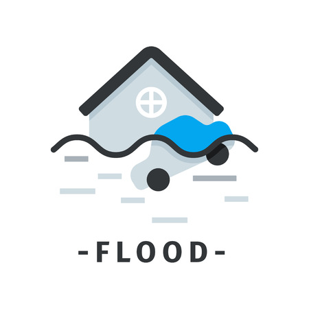 Icon of flooded house and car. Natural disaster. Dangerous catastrophe. Graphic element for poster or website of insurance company. Vector design in flat style isolated on white background.