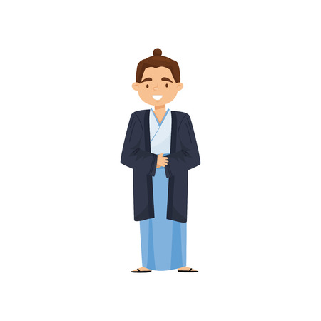 Illustration of cheerful boy in Japanese traditional clothes. Samurai kimono or hakama. National costume. Cartoon character with happy face. Colorful flat vector design isolated on white background.