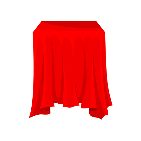 Square box or table covered with bright red cloth. Textile material. Table linen. Silk fabric on presentation pedestal. Colorful vector illustration in flat style isolated on white background. Ilustração