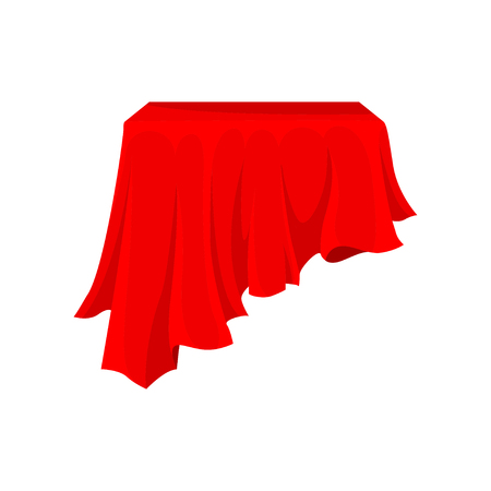 Bright red cloth for pedestal or rectangular table. Silk fabric material. Textile cover. Table linen. Graphic element for promo poster. Colorful flat vector illustration isolated on white background.