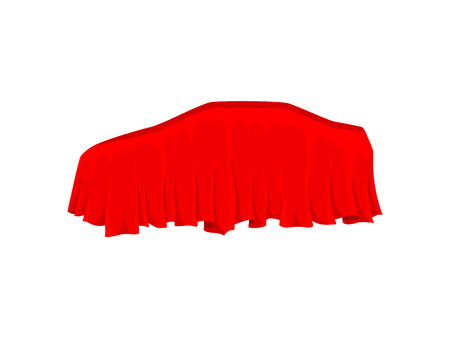 Car covered with bright red silk cloth. Presentation of automobile. Textile material. Graphic element for advertising banner or poster. Vector illustration in flat style isolated on white background.