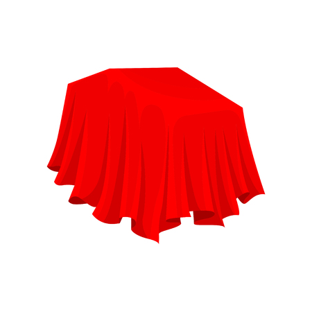 Bright red cloth. Silky cover. Hidden object. Textile material. Silk fabric. Presentation concept. Graphic element for advertising poster or banner. Flat vector design isolated on white background. Ilustração