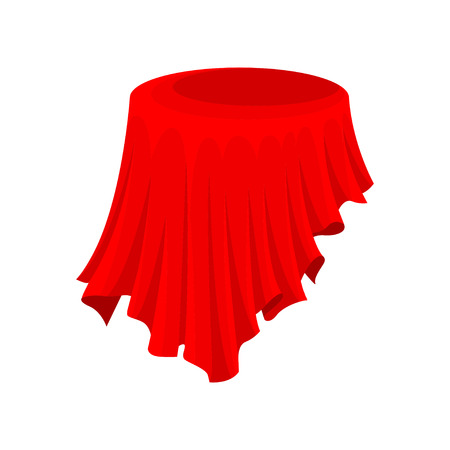 Bright red cloth for round table or presentation pedestal. Silk textile. Fabric material. Element for promo banner or poster. Colorful vector illustration in flat style isolated on white background.