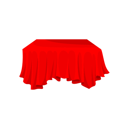 Bright red cloth for rectangular table. Piece of fabric material. Linen for dining table. Graphic element for advertising poster of textile store. Flat vector illustration isolated on white background