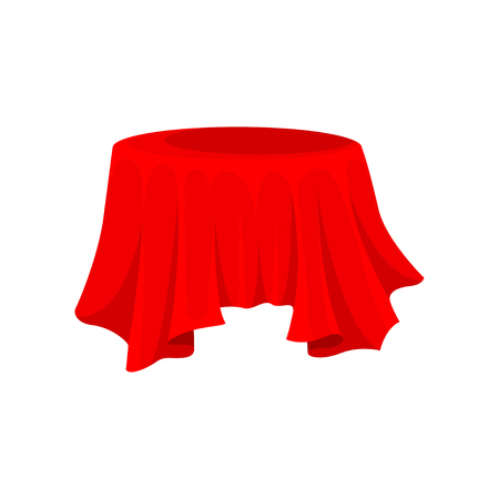 Illustration of bright red tablecloth for round table. Silk fabric material. Textile cover. Decorative graphic element for promo banner or poster. Flat vector design isolated on white background. Illustration