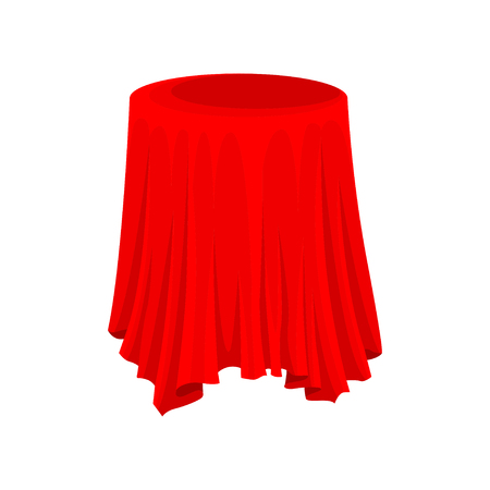 Illustration of round presentation pedestal covered with bright red cloth. Textile material. Silk fabric. Graphic element for promo banner or poster. Flat vector design isolated on white background.