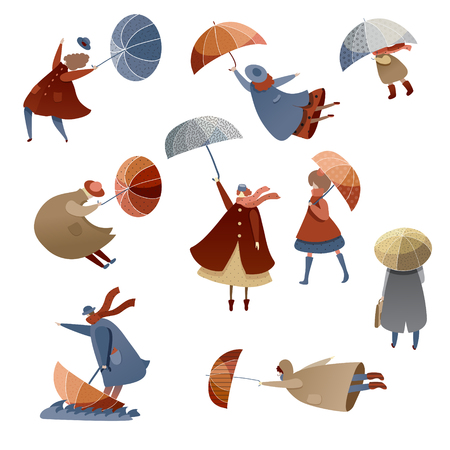 Set of people with umbrellas. Windy day. Bad weather. Men, women and kids in raincoats. Autumn season. Cartoon characters. Trendy vector illustrations in flat style isolated on white background.