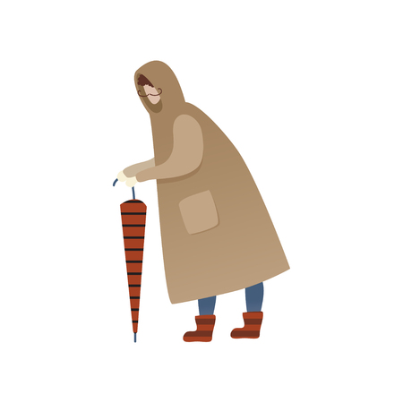 Man in brown raincoat standing with closed umbrella. Cartoon male character with mustache. Human in autumn clothing. Rainy season. Trendy vector illustration in flat style isolated on white background Ilustração