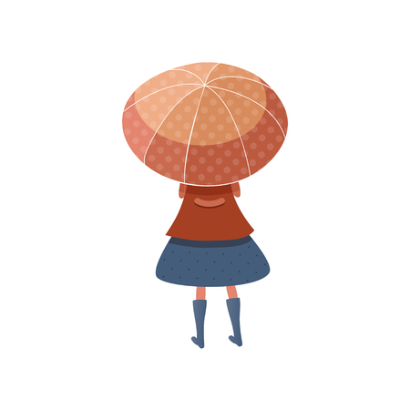 Little girl standing under red umbrella, back view. Kid in raincoat, skirt and boots. Cartoon female character. Autumn weather. Trendy vector illustration in flat style isolated on white background. 일러스트