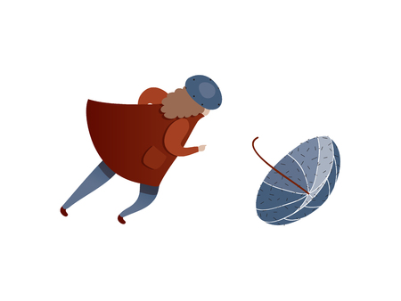 Woman running to catch flying away umbrella. Windy weather. Lady in raincoat and hat. Autumn season. Cartoon female character. Trendy vector illustration in flat style isolated on white background.