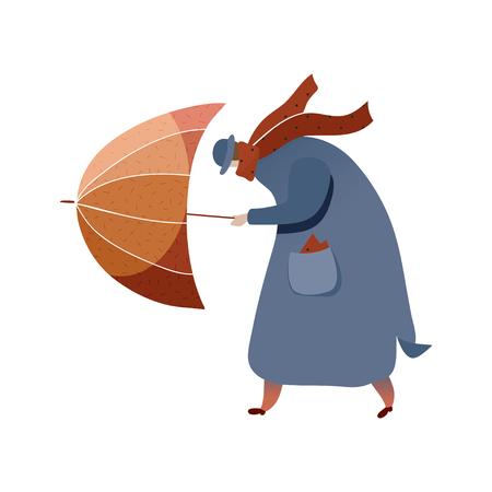 Homme marchant avec un parapluie, combattant avec un vent fort. Personnage de dessin animé en manteau, chapeau et écharpe. Temps d'automne. Élément graphique pour carte postale. Design tendance vecteur plat isolé sur fond blanc.