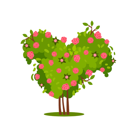 Illustration of big green bush with pink roses. Gorgeous flowering plant. Beautiful garden flowers. Natural element. Nature and botany theme. Colorful flat vector design isolated on white background. Ilustracja