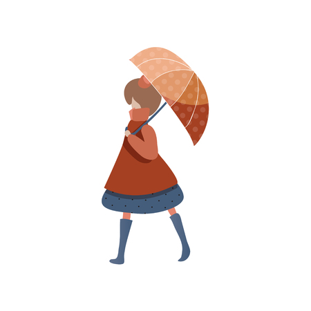 Young girl walking with red umbrella. Cartoon female character in raincoat and boots. Autumn weather. Graphic element for children book. Trendy flat vector illustration isolated on white background.