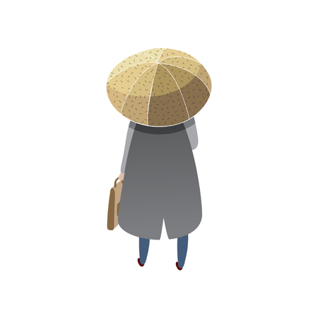 Man with briefcase standing under umbrella, back view. Cartoon male character in blue raincoat. Human in autumn clothing. Rainy weather. Trendy flat vector illustration isolated on white background. Ilustração