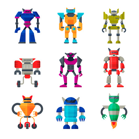 Flat vector set of robot transformers. Futuristic metal androids. Artificial intelligence. Elements for mobile game 일러스트
