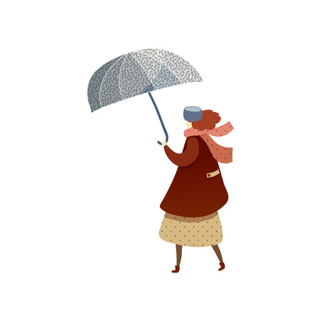 Trendy illustration of woman walking with blue umbrella. Lady wearing coat, hat and scarf. Cartoon character in autumn clothes. Rainy weather. Graphic element for postcard. Isolated flat vector design