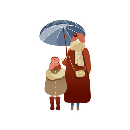 Woman and child standing under blue umbrella. Cartoon people characters in warm clothing. Rainy weather. Autumn season theme. Trendy vector illustration in flat style isolated on white background