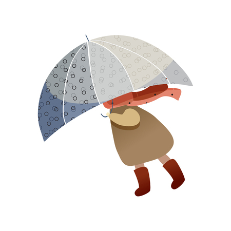 Child walking with blue umbrella. Windy weather. Girl in raincoat, scarf and boots. Autumn season. Cartoon character of kid. Trendy vector illustration in flat style isolated on white background.