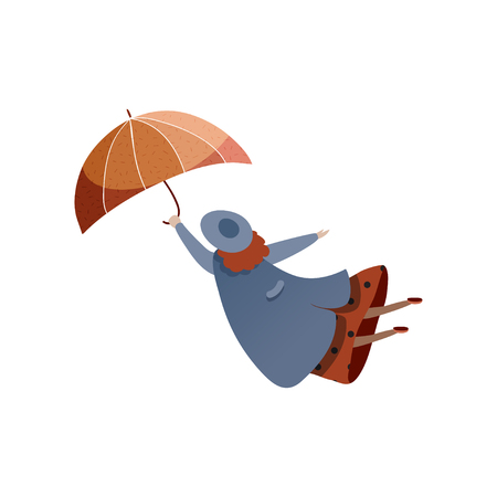 Woman flying with umbrella. Bad weather. Windy day. Autumn season. Lady in blue raincoat and hat. Cartoon female character. Element for postcard. Trendy flat vector design isolated on white background 일러스트