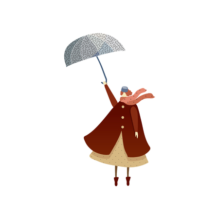 Lady standing or flying with umbrella. Woman in raincoat, hat and scarf. Autumn season. Windy weather. Cartoon female character. Trendy vector illustration in flat style isolated on white background. 일러스트