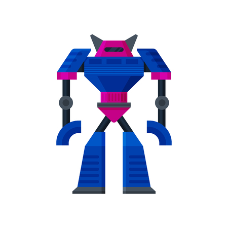 Big steel pink-blue transformer standing. Artificial intelligence. Metal humanoid robot. Flat vector icon