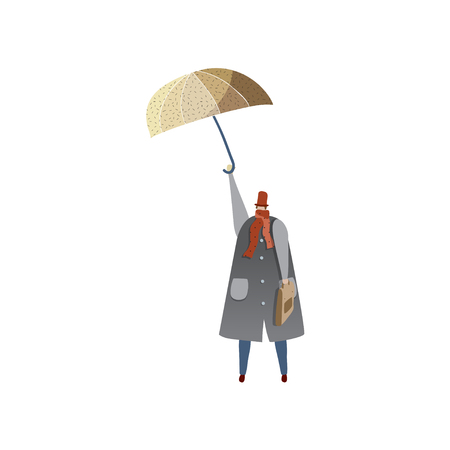 Man standing or flying with umbrella. Autumn weather. Man in raincoat, hat and scarf. Cartoon male character holding briefcase. Trendy vector illustration in flat style isolated on white background