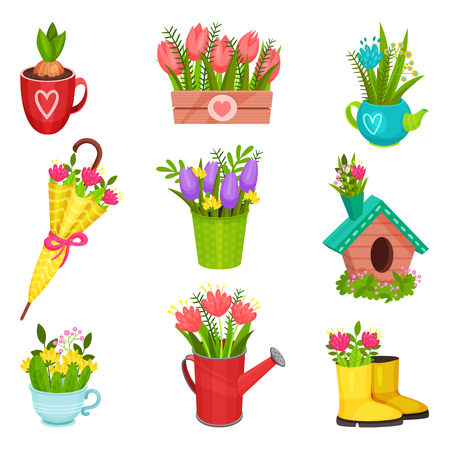Set of different spring compositions. Beautiful flowers in rubber boot, umbrella, watering can, teapot. Gardening theme. Colorful vector illustrations in flat style isolated on white background.