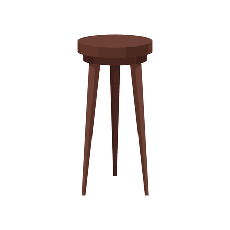 Classic wooden bar stool. High brown chair with round seat. Furniture for cafe and restaurant. Element of interior. Colorful flat illustration isolated on white background. Cartoon vector design.