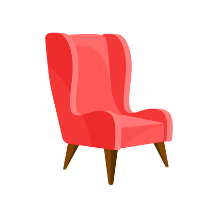 Illustration of cozy bright pink armchair with wooden legs. Comfortable cushioned furniture. Stylish soft chair for living room. Interior object. Colorful flat vector icon isolated on white background