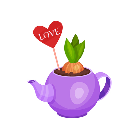 Sprouted hyacinth bulb decorated with heart on stick in small purple kettle. Flowering plant. Cute spring composition. Nature theme. Colorful flat vector illustration isolated on white background.