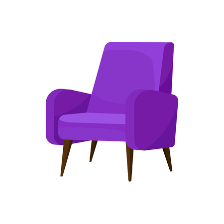 Cozy bright purple armchair with wooden legs. Comfortable chair with soft upholstery. Furniture for living room. Object for home interior. Colorful flat vector design isolated on white background. Vettoriali