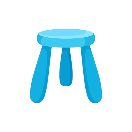 Small bright blue kid chair with round seat. Furniture for kindergarten or children room. Interior object. Cartoon vector design. Colorful illustration in flat style isolated on white background. 스톡 콘텐츠 - 124746795