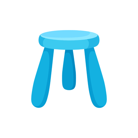 Small bright blue kid chair with round seat. Furniture for kindergarten or children room. Interior object. Cartoon vector design. Colorful illustration in flat style isolated on white background. 스톡 콘텐츠 - 124746798