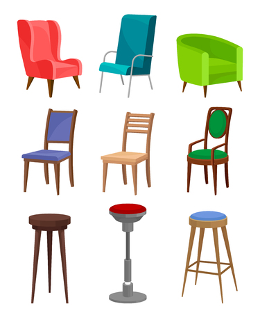 Collection Of Different Cozy Armchairs, Dining Chairs And Bar Stools.  Modern Furniture. Interior