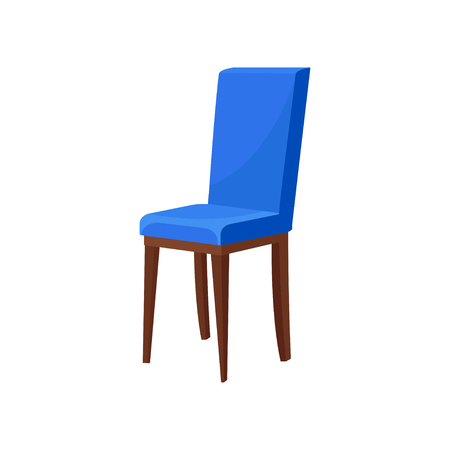 Comfortable wooden chair with bright blue upholstery. Soft seat. Furniture for dining room. Element of home interior. Cartoon vector design. Colorful flat illustration isolated on white background. Ilustração