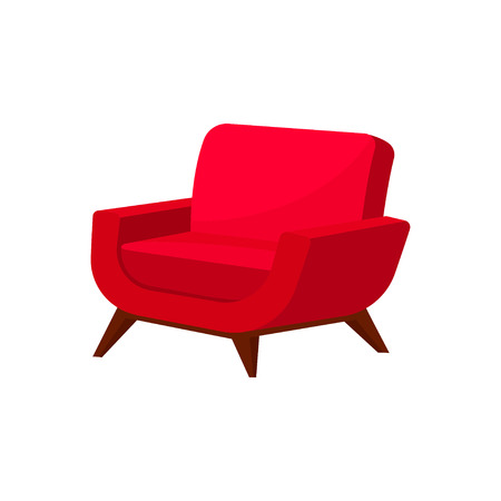 Stylish armchair with bright red upholstery and wooden legs. Cushioned furniture for living room. Soft chair. Comfortable seat. Colorful vector illustration in flat style isolated on white background. Ilustração