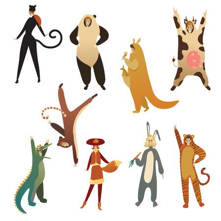 Set of young people in animal costumes. Cartoon men and women characters in clothing for carnival or children show. Funny girls and guys. Trendy flat vector illustrations isolated on white background. Ilustracja