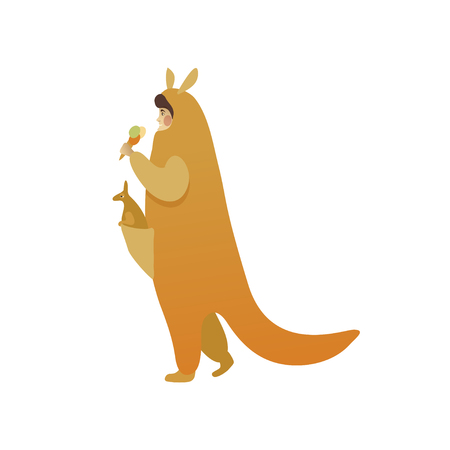 Adult man in costume of kangaroo with toy animal in pouch. Animator for children holiday. Guy walking and eating ice-cream. Funny Halloween outfit. Cartoon character. Isolated flat vector illustration