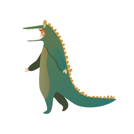 Illustration of man in costume of green crocodile in walking action. Cartoon male character. Young guy dressed in outfit for Halloween party. Trendy flat vector design isolated on white background. Illustration